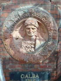 Galba - Da Maiano terracotta roundel. Frame; red terracotta