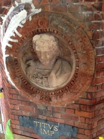 Titus - mortar roundel. Frame; red terracotta